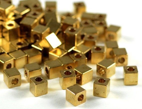 Brass Cube 4mm, square spacer beads, smooth edge, raw brass beads, light weight  - 25 pcs/ pkg
