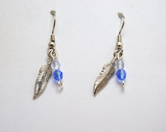 Blue bead feather earrings