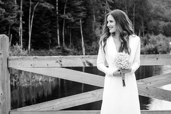 Traditional Wedding Dress With Long Sleeve Open Back Wedding