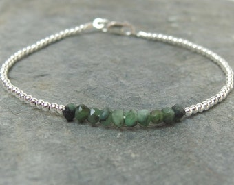 Personalized birthstone bracelet, Emerald bracelet, May birthstone,Bridesmaid bracelet Gemstone beaded bracelet Personalized bracelet