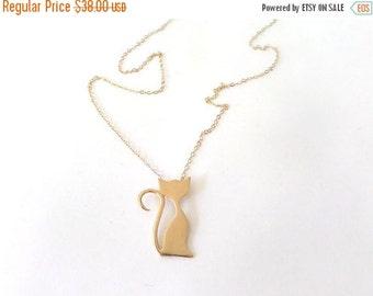SUMMER SALE Gold Cat necklace, Pet necklace, cat lover gift, cat pendant necklace, pet charm.