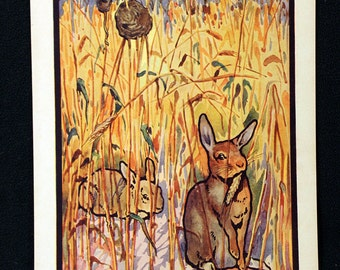 Edwin Noble Color Illustration Lithograph entitled Rabbit and Field-Mouse * Delightful c1920s Childrens Book Page Print Beautiful Color