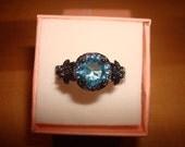 Diamond Cut Aquamarine 10KT Black GF Twisted Halo Engagement Ring Size 6