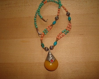 Native Turquoise, Coral, Silver Bead Tibetan Silver Necklace