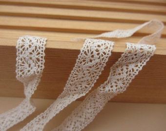 5yards Cotton Crochet Lace Ribbon Ivory/ Beige