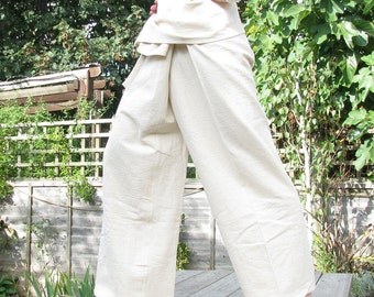 100% Organic UNDYED Cotton Thai Fisherman Pants, natural, available in ALL SIZES