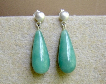 Sterling Silver & Green Jade Tear Drop Stud Earrings
