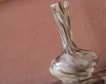 Beautiful glass vase with stripes 1960