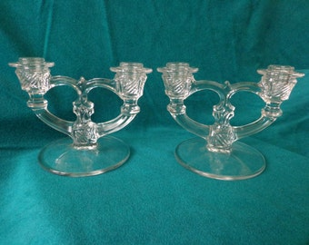 Pair of Beautiful Glass Double Candlesticks, Vintage Candle Holders,