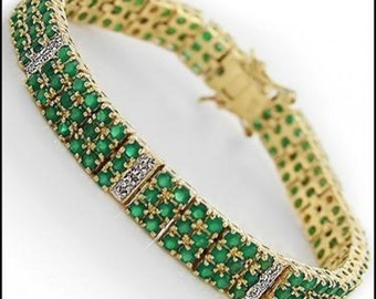 Green Diamond Tennis Bracelet