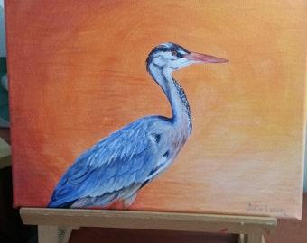 "My Original Acrylic on Canvas of ""Heron"""