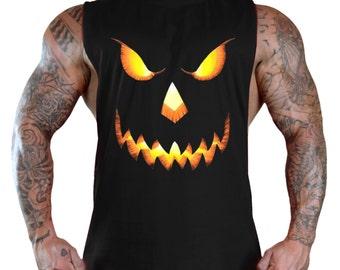 New Halloween Pumpkin Face Muscle T-Shirt Bodybuilding deep cut Tank Top
