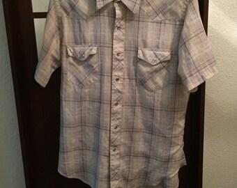 vintage wrangler plaid western pearl snap shirt