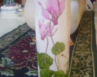 Vintage 1970's Cyclamen, Otagiri Japan, Pink Flowers, Bud Vase.