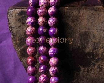 A16032503 Full Strand Purple Sea Sediment Jasper Beads, Round Imperial Jasper,Round Gemstone Beads  6mm 8mm 10mm 12mm