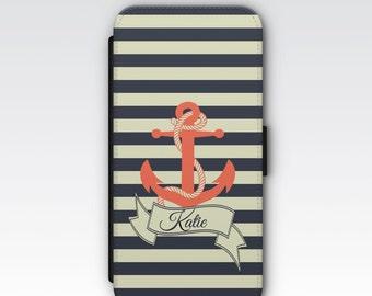 Wallet Case for iPhone 8 Plus, iPhone 8, iPhone 7 Plus, iPhone 7, iPhone 6, iPhone 6s, iPhone 5/5s - Nautical Anchor Design Custom Case