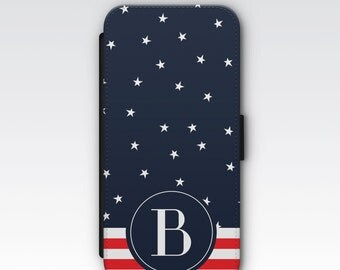 Wallet Case for iPhone 8 Plus, iPhone 8, iPhone 7 Plus, iPhone 7, iPhone 6, iPhone 6s, iPhone 5/5s - Stars and Stripes Monogram Wallet Case