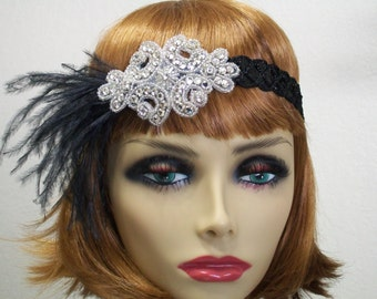 1920s headpiece, Flapper headpiece, Flapper headband, Feather headband, 1920s headband, Sequin headband, 1920s hair accessory, Roaring 20s