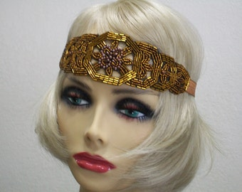 Flapper headband, Great Gatsby headpiece, 1920s headpiece,  Beaded Art Deco headband, 1920s headband, Beaded headband, 1920s hair accessory
