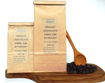 ORGANIC Chocolate chips 70% bittersweet, 8 oz or 16 oz bag, from and USDA organic source