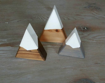 Snow Capped Mountain Trio: Cake Topper or Centerpiece - Mini Peak - Natural, Walnut + Gray Snow Capped Mountains