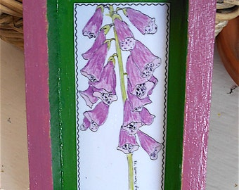 Paper Collage Shadow Box Art®/Pink Fox Glove Flowers/Lighthearted Art/Gift Item/Flower Lover