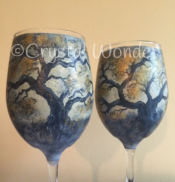Set of Two - Hand-Painted 20 oz Wine Glasses w/ Metallic Accents