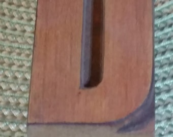 "Antique Wood Block Letterpress  2 1/2"" Letter D"