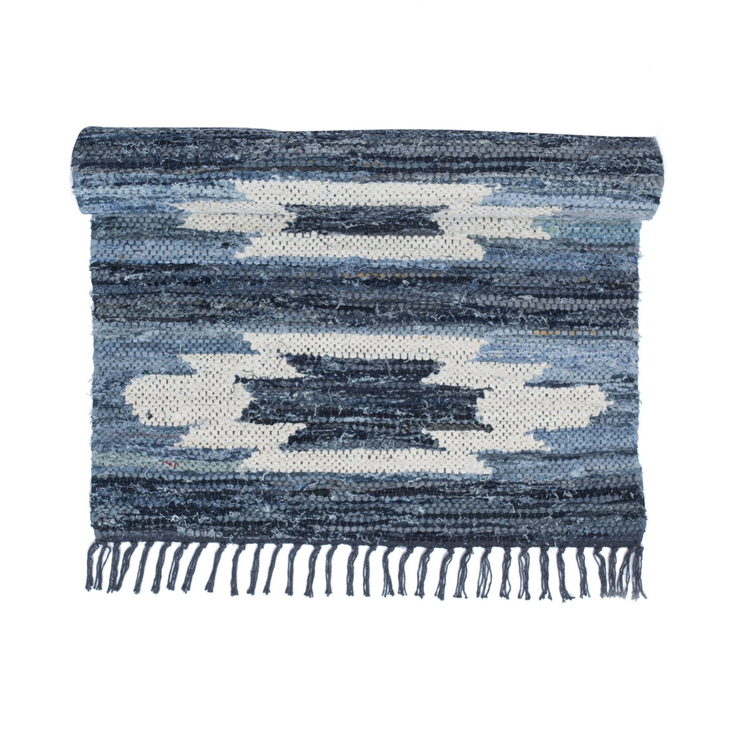 Blue And White Scandinavian Rug: Kilim Style Blue & White Swedish Rag Rug