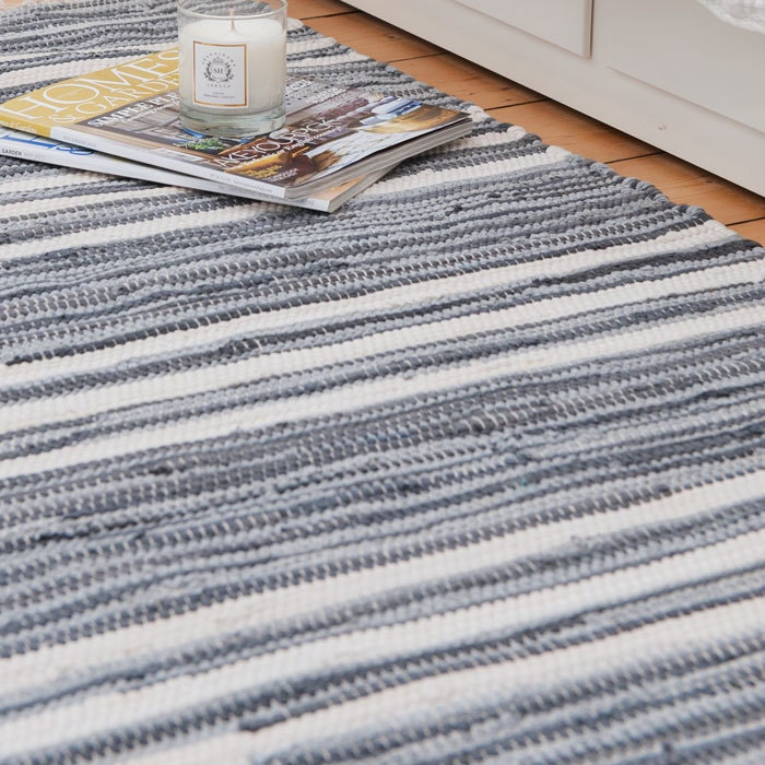 Blue And White Scandinavian Rug: Grey And White Stripe Swedish Rag Rug
