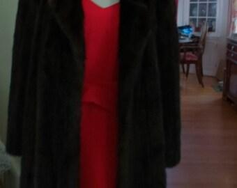 Floor Lengthe Black Ranch Mink Coat Sz 8 Stuning