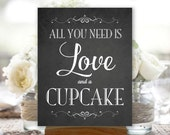 All You Need Is Love and a Cupcake, Chalkboard, Digital Printable, Choose Your Size, Wedding Sign (#CUP1C)