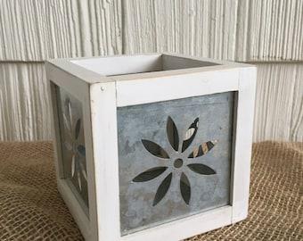 Wood-Trimmed/Galvenized Metal Boxes/Votive Holders--Cottage, Farmhouse, Candles, Sabby-Chic, Garden, White