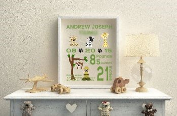 Jungle Safari Baby Birth Statistics Wall Art 8 x 10 Floating Frame