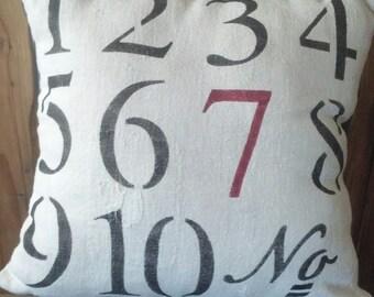 Numbers Grain Sack Pillow Case