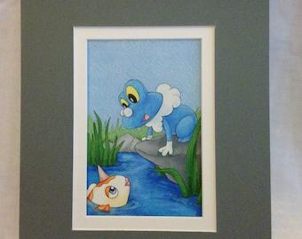 """Froakie Original Fan Art - Pre-matted 8""""x10"""""""