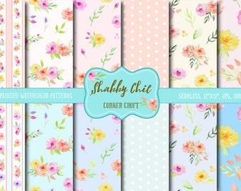 Watercolor Digital Paper Shabby Chic,  watercolor background, rose pattern, digital background  for instant download