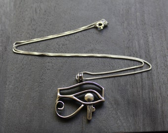 Eye of Horus (Large) Egyptian Necklace Sterling Silver