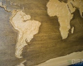 """World Map #21 - Accurate 3D Topographic Relief Carving - 13.1"""" x 24"""""""