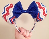 Patriotic Stars and Stripes Mouse Ears.