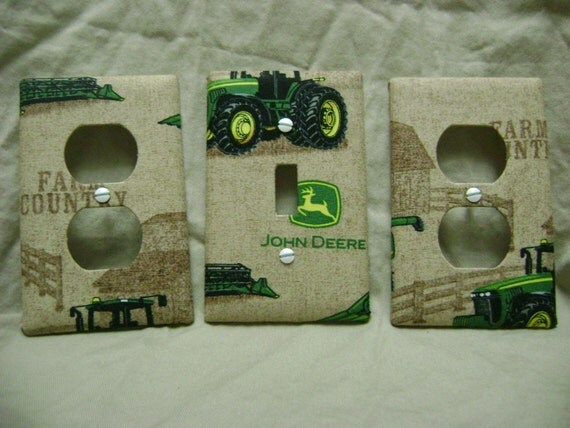 Red Tractor Plate Outlit : Light switch plate outlet plug cover custom tractor farm