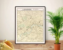 London map art,  London City Street Map, London art, London old map UK poster, Educational poster, Geography classroom decor,Printable 16x20