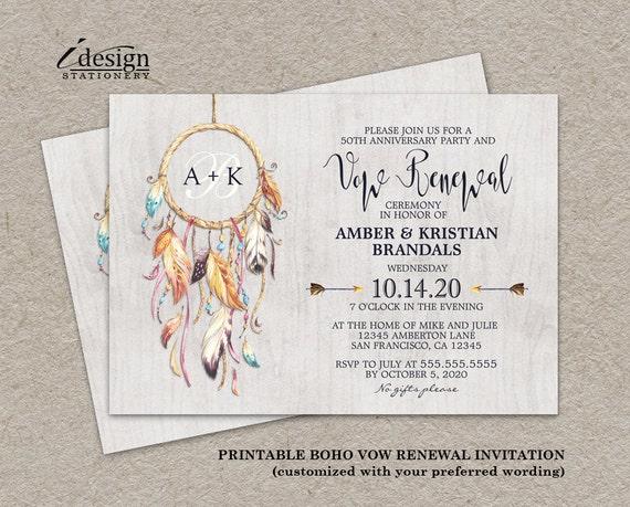 Invitation For Renewal Of Wedding Vows: Rustic Boho Vow Renewal Invitation Printable Bohemian Vow