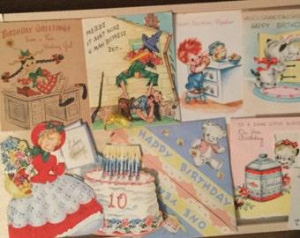 Vintage used birthday greeting cards