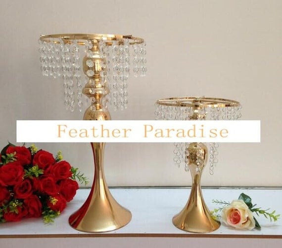 Gold metallic centerpieces stand cake floral with