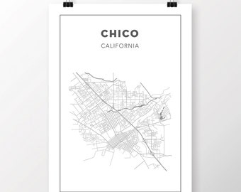 FREE SHIPPING to the U.S!! CHICO, California Map Print