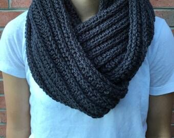 Gray Crochet Infinity Scarf