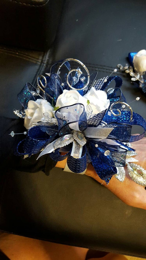 prom royal blue and silver prom corsage by