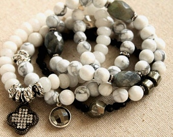 Labradorite and White Howlite Layering Bracelet. White Howlite and Labradorite Stretch Bracelet. Snow White and Gray Luxe Bracelet.