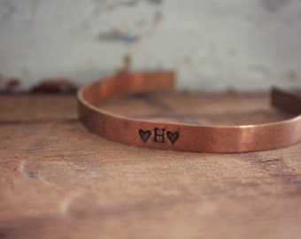 Rustic Initial Copper Cuff Bracelet, Farmhouse Style Jewelry, Personalized Cuff Bracelet